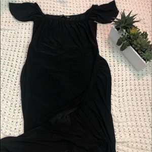 Black Maxi Off the Shoulder Slit Dress with tag